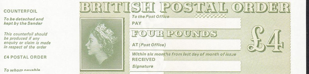 Postal order cheque